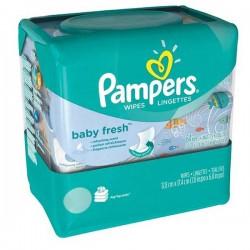 Maxi Pack 768 Lingettes Bébés de la marque Pampers Baby Fresh - 12 Packs de 64 sur 123 Couches