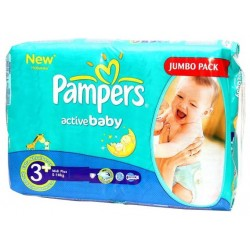 Pack économique 256 Couches Pampers Active Baby taille 3+ sur 123 Couches