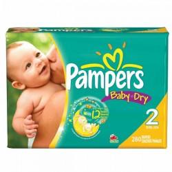Pack économique 280 Couches Pampers de la gamme Baby Dry taille 2 sur 123 Couches