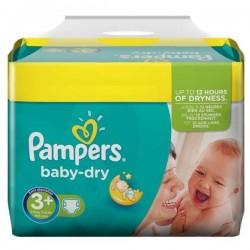 Pack d'une quantité de 340 Couches Pampers Baby Dry de taille 3+ sur 123 Couches