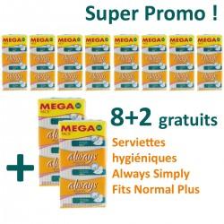 Maxi Pack 360 Serviettes hygiéniques Always Simply Fits - 10 Packs de 36 Serviettes hygiéniques taille normal plus sur 123 Couches