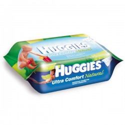 Pack d'une quantité de 64 Lingettes Bébés Huggies Ultra Confort Natural sur 123 Couches