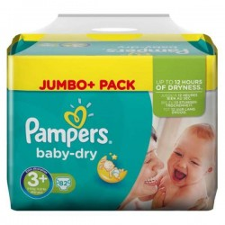 Pack 82 Couches de Pampers Baby Dry taille 3+