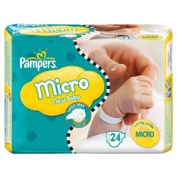Pack d'une quantité de 24 Couches Pampers New Baby Micro taille 0 sur 123 Couches