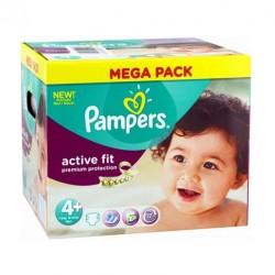 Maxi Pack d'une quantité de 250 Couches de la marque Pampers Active Fit de taille 4+ sur 123 Couches