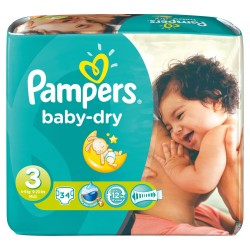 Pack 34 Couches Pampers Baby Dry de taille 3