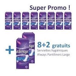Pack d'une quantité de 260 Serviettes hygiéniques d'Always Pantiliners - 10 Packs de 26 Serviettes hygiéniques taille Large sur 123 Couches