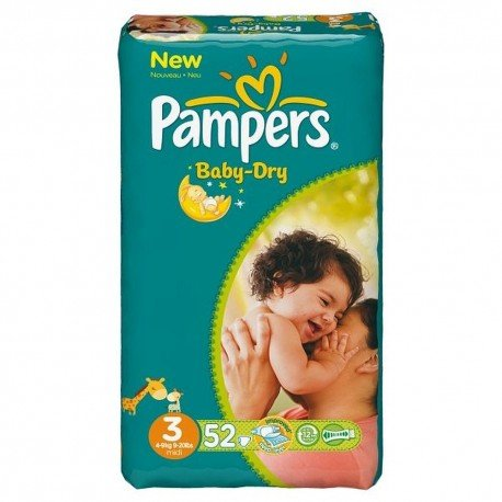 Pack 52 Couches Pampers Baby Dry taille 3 sur 123 Couches