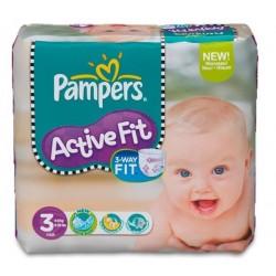 Pack d'une quantité de 33 Couches Pampers Active Fit de taille 3 sur 123 Couches