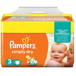 Pack 90 Couches Pampers Simply Dry de taille 3 sur 123 Couches
