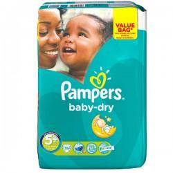 Pack de 35 Couches Pampers de la gamme Baby Dry de taille 5+ sur 123 Couches
