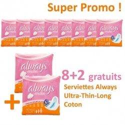 Pack 80 Serviettes hygiéniques Always Ultra Thin - 10 Packs de 8 Serviettes hygiéniques de taille Long sur 123 Couches
