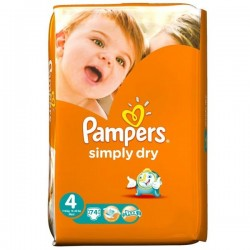 Pack 74 Couches Pampers de la gamme Simply Dry taille 4 sur 123 Couches