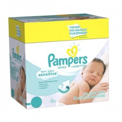 Pack économique 500 Lingettes Bébés Pampers New Baby Sensitive - 10 Packs de 50 sur 123 Couches