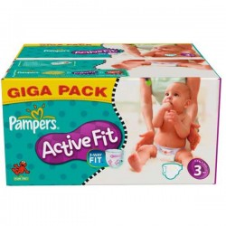 Pack d'une quantité de 372 Couches de Pampers Active Fit taille 3