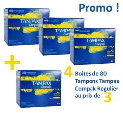 Pack 320 Tampons Tampax de la gamme Compak - 4 Packs de 80 de taille RegularavecApplicateur sur 123 Couches