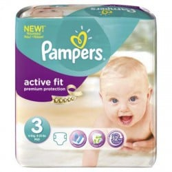 Maxi Pack de 290 Couches Pampers Active Fit taille 3+ sur 123 Couches