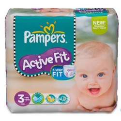 Maxi Pack de 341 Couches de Pampers Active Fit de taille 3 sur 123 Couches