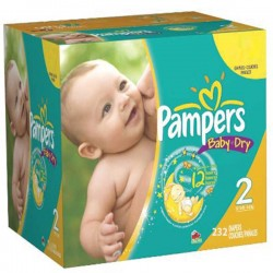 Pack économique de 232 Couches Pampers Baby Dry taille 2