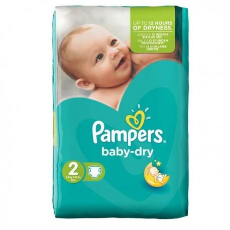 Pack d'une quantité de 44 Couches Pampers Baby Dry de taille 2 sur 123 Couches