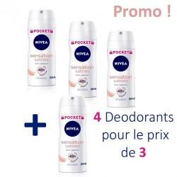 Maxi Pack 4 Deodorants Nivea Sensation Satinée - 4 au prix de 3 de taille Pocket sur 123 Couches
