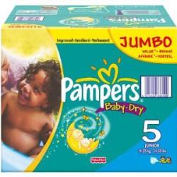 Pack économique d'une quantité de 360 Couches Pampers Baby Dry de taille 5 sur 123 Couches