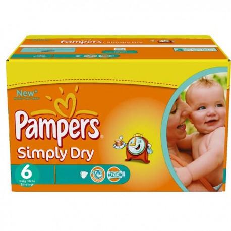 Pack d'une quantité de 124 Couches Pampers Simply Dry de taille 6 sur 123 Couches
