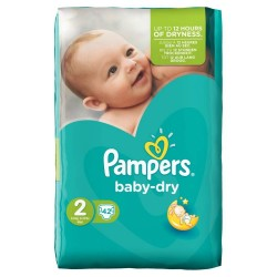 Pack 42 Couches de Pampers Baby Dry taille 2