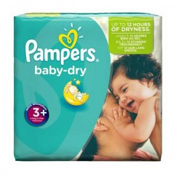 Pack 68 Couches de Pampers Baby Dry taille 3+