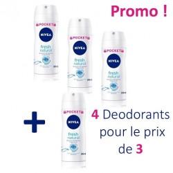 Maxi Pack 4 Deodorants Nivea Fresh Natural - 4 au prix de 3 taille Pocket sur 123 Couches