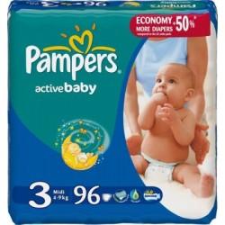 Pack 96 Couches Pampers de la gamme Active Baby de taille 3 sur 123 Couches