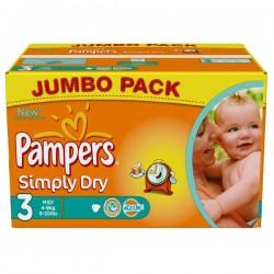 Pack d'une quantité de 280 Couches de Pampers Simply Dry taille 3