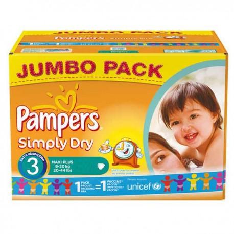 Pack d'une quantité de 280 Couches de Pampers Simply Dry taille 3 sur 123 Couches