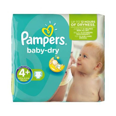 Pack de 56 Couches Pampers Baby Dry taille 4+ sur 123 Couches