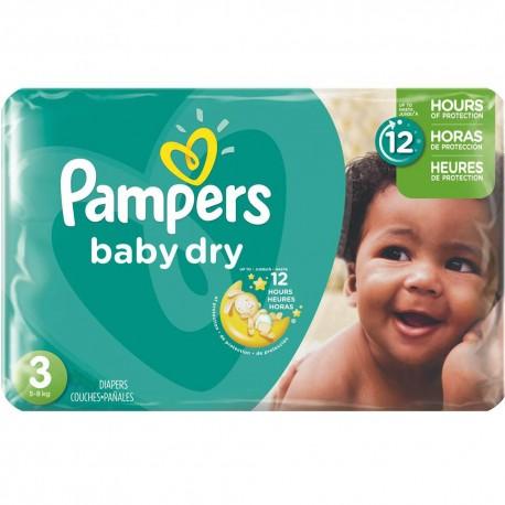 Pack d'une quantité de 70 Couches Pampers Baby Dry taille 3 sur 123 Couches