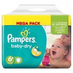 Maxi Pack d'une quantité de 120 Couches Pampers de la gamme Baby Dry taille 6+ sur 123 Couches