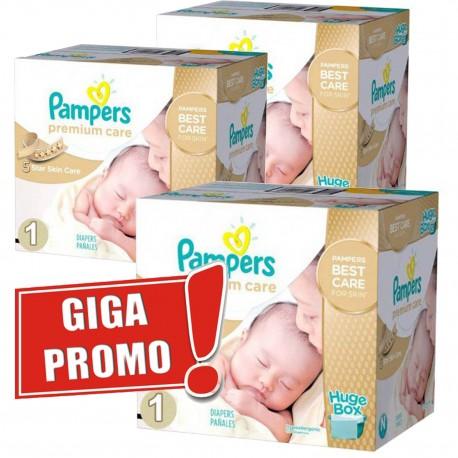 Pack économique Jumeaux de 1012 Couches Pampers Premium Care de taille 1 sur 123 Couches