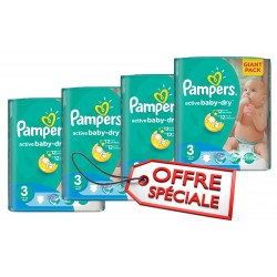 Giga Pack 660 Couches Pampers Active Baby Dry de taille 3 sur 123 Couches