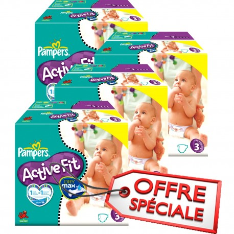 Maxi Giga Pack Jumeaux 615 Couches Pampers Active Fit taille 3 sur 123 Couches