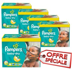 Maxi Giga Pack Jumeaux de 731 Couches Pampers de la gamme Baby Dry taille 5+ sur 123 Couches