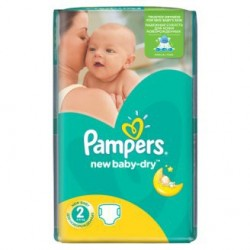 Pack économique 68 Couches Pampers New Baby Dry taille 2 sur 123 Couches