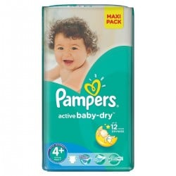 Paquet 32 Couches de Pampers Active Baby Dry de taille 4+ sur 123 Couches