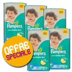 Giga Pack de 371 Couches de Pampers Active Baby Dry de taille 4+ sur 123 Couches