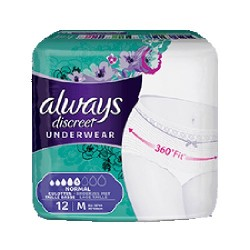 Pack 12 culottes incontinence ALWAYS DISCREET Normal sur 123 Couches