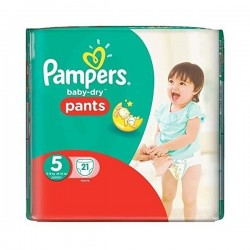 Pack 21 Couches de Pampers Baby Dry Pants de taille 5 sur 123 Couches