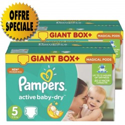 Pack économique de 522 Couches Pampers Active Baby Dry taille 5