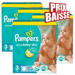 Maxi Giga Pack 444 Couches Pampers Active Baby Dry de taille 3