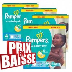Gros pack d'une quantité de 290 Couches Pampers Active Baby Dry taille 4