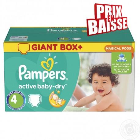 Gros pack d'une quantité de 348 Couches de la marque Pampers Active Baby Dry de taille 4 sur 123 Couches