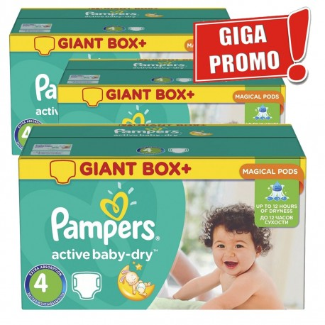 Gros pack de 696 Couches Pampers Active Baby Dry de taille 4 sur 123 Couches